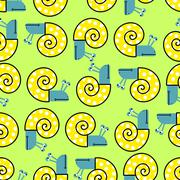 Snail seamless pattern. Vector background with clam shells. Cheerful children - stock illustration