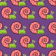 Snail shell with pink on purple background seamless texture. Cute vector patt - stock illustration