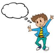 dancing boy with thought bubble - stock illustration