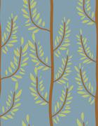 Trees seamless pattern. Trunk and leaf texture. Natural vector background. Or - stock illustration