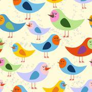 Birds seamless pattern. Vector background of lovely colored birds. retro Onam - stock illustration