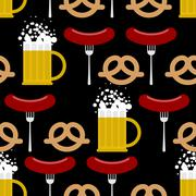 Seamless pattern beer and pretzels, sausage. Vector background of Symbols of  - stock illustration