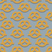 Pretzel seamless pattern. Beer snack vector background. Ornament of food for  - stock illustration