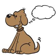 dog with thought bubble - stock illustration