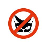 Stop cat. Pet forbidden. Frozen silhouette cat head. Emblem against home beas Stock Illustration
