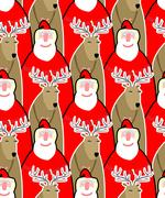 Santa Claus and reindeer seamless background. Vector ornament from Christmas  - stock illustration