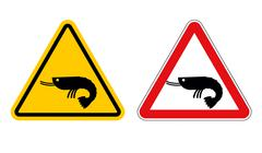 Warning sign attention shrimp. Hazard yellow sign marine plankton. Shrimp on  Stock Illustration