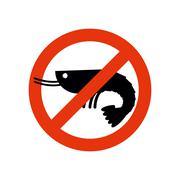 Stop shrimp. Banned deep-water plankton. Frozen shrimp silhouette. Emblem aga - stock illustration