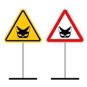 Warning sign attention cat. Hazard yellow signpet. head of Cat on red triangl - stock illustration