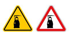 Grim reaper warning sign of attention. Death Danger Yellow sign. Death on red Stock Illustration