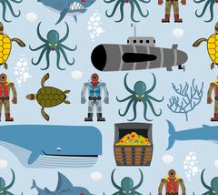 Ocean seamless pattern. Marine life: whale and turtle. Octopus and submarine. - stock illustration