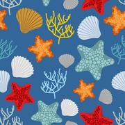 Marine seamless pattern. Starfish, scallop and corals. Clam shells and underw - stock illustration
