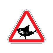 Sign of attention to shark. Red triangle with silhouette of  toothy fish. Vec Stock Illustration
