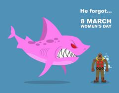 He forgot about 8 March. International womens day. Wicked  Pink shark scares  - stock illustration
