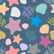 Marine seamless pattern. Colored silhouettes of marine life. Scallops and sta - stock illustration