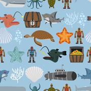 Ocean life seamless pattern. Shark and  sea turtle, submarine and diver. Ches Piirros