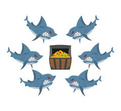 Sharks and prey. Chest of gold and an angry fish. Vector illustration busines - stock illustration
