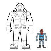 Old wetsuit coloring book. Diver in an old suit for scuba diving. Vector illu Piirros