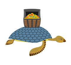 Water Turtle and treasure chest. Marine reptiles are lucky pirate treasure on - stock illustration