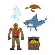Marine set a diver and shark. Sea turtle and treasure chest. Vector icons set Piirros