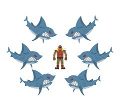 Angry sharks surrounded man in old diving suit. Fear, hopeless situation. Far - stock illustration