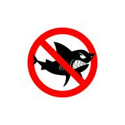 Sharks is prohibited. Shark ban. Area of water free from predators. Forbiddin Stock Illustration