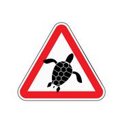 Danger sign turtle. Attention here live marine reptiles. Vector red triangle  - stock illustration