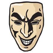 evil smile mask - stock illustration