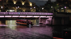Shot panning across a boat in the Singapore river Stock Footage