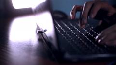 Hacker with Stolen Credit Cards hacks computer, steals money, shopping on-line Stock Footage