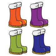Four pair of boots Stock Illustration
