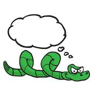Green snake with thought bubble Stock Illustration