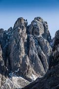 View of rugged mountain rock formation, Dolomites, Italy Stock Photos