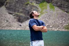 Man breathing in fresh air, Cathedral Lake, Aspen, Colorado Stock Photos