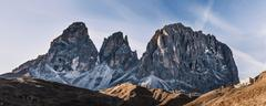 Panoramic view of mountain landscape and rugged rock formation, Dolomites, Italy Stock Photos