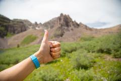 Hand showing thumbs up, Aspen, Colorado Stock Photos