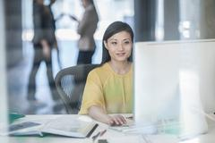 Mid adult businesswoman using computer Stock Photos