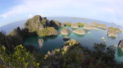 Limestone Island Vista in Raja Ampat Stock Footage