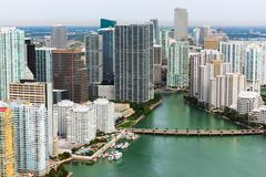 Skyscrapers and bridge, Brickell, Downtown Miami, Florida, USA Stock Photos