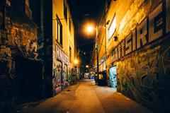 Graffiti Alley at night, in the Fashion District of Toronto, Ontario. Stock Photos