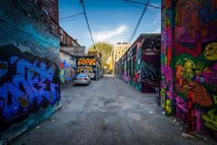 Street art in Graffiti Alley, in the Fashion District of Toronto, Ontario. Stock Photos