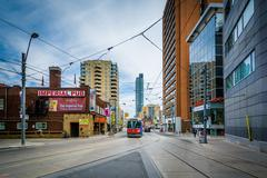 Streetcar tracks and buildings along East Dundas Street in downtown Toronto,  Stock Photos