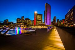 View of Nathan Phillips Square and Toronto Sign in downtown at night, in Toro Stock Photos