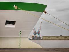 Green & White Ship At Port - stock photo