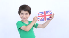 British boy with the flag of United Kingdom - stock footage
