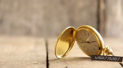 Today idea, text and gold pocket watch Stock Footage