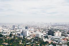 Elevated view of cityscape with smoggy distant skyline, Los Angeles, California, Kuvituskuvat