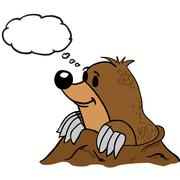 mole with thought bubble - stock illustration