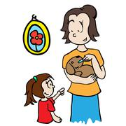 mom feeding a dog - stock illustration