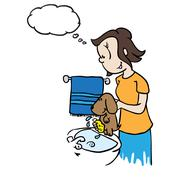 Mom with thought bubble washing a dog Stock Illustration